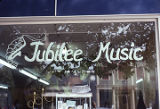 Front window of the Jubilee Music store in Fairhope, Alabama.