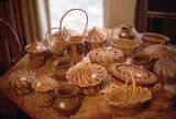 Pine needle baskets made by Bertie Croft in Whiteboro, near Boaz, Alabama.