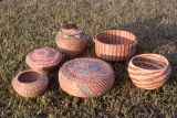Pine needle baskets made by Tina Thrower.