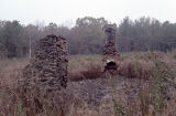Stone chimneys near Jerry Brown's property in Hamilton, Alabama.