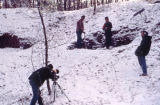 Jerry Brown and Jeff Wilborn digging clay in the show at Detroit, Alabama, during the filming of...