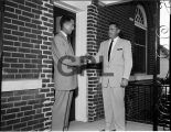 Richard Covey and contractor Mr. Rod Cross at Alabama City Library, 1958