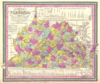 """A New Map of Virginia with its Canals, Roads, & Distances from place to place, along the..."