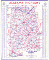 1943 official highway map of Alabama.