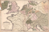 """Map of Central Europe Comprising Great Britain, Holland, and Belgium, France, Germany,..."