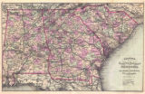 """Watson's New County, Railroad and Distance Map of Alabama, Georgia and South Carolina."""