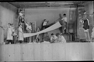 Students prepare the stage for school production at the Marietta Johnson School of Organic...