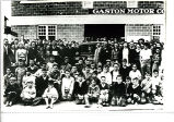 Students from the Marietta Johnson School of Organic Education in front of Gaston Motor Company