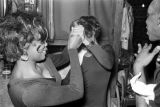 Two dancers pretending to fight backstage at the Laicos Club in Montgomery, Alabama, during a...