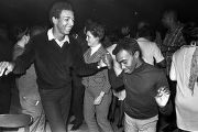 Two men dancing at the Laicos Club in Montgomery, Alabama, during a performance by Bobby Moore and...