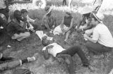 "Participants in the ""March Against Fear"" begun by James Meredith, sitting and lying on..."