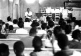 Boys addressing an audience at Harrison Street Baptist Church in Greenville, Alabama, during a...