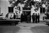 Jury members standing outside the Lowndes County courthouse in Hayneville, Alabama, during the...