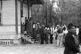 People entering a building in Lowndes County, Alabama, on election day.