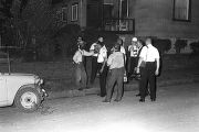 Roosevelt Barnett speaking to police officers during a civil rights demonstration in Montgomery,...