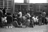 Students standing and seated outside the Autauga County Training School in Autaugaville, Alabama,...