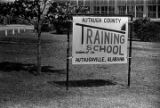 Sign outside the Autauga County Training School in Autaugaville, Alabama.