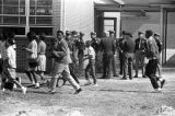 Students walking around the Autauga County Training School in Autaugaville, Alabama, during a...