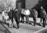Wendell Paris and other students from Tuskegee Institute standing in the street during a...