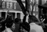 Wendell Wilkerson addressing students gathered outside the Collis P. Huntington Memorial Building...