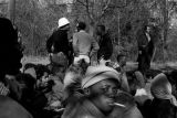 Students from Tuskegee Institute seated on a road during a demonstration to protest the murder of...