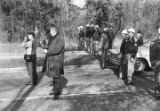 Policemen lined up across Old Montgomery Road to block a student demonstration in Tuskegee,...