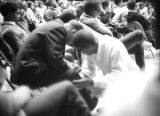 Audience at a meeting in the Tuskegee Institute gymnasium, which was held to discuss student...