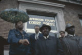 Hosea Williams speaking to demonstrators outside the Jefferson County courthouse in Bessemer,...
