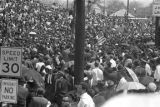 Crowd scene outside Martin Luther King, Jr.'s funeral.