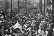Crowd scene at Martin Luther King, Jr.'s funeral, looking west on Auburn Avenue towards downtown...