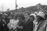 Onlookers behind a rope line on Auburn Avenue at Martin Luther King, Jr.'s funeral.