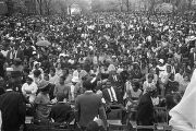Mourners seated for the service for Martin Luther King, Jr., at Morehouse College.
