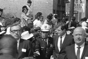 Senator Edward Kennedy being escorted by Atlanta police down Auburn Avenue to Ebenezer Baptist...