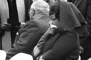 Alberta Williams King pressing a handkerchief to her face during Martin Luther King, Jr.'s funeral...