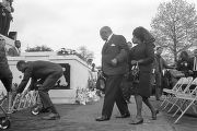 Martin Luther King, Sr., and Alberta Williams King at the grave site of Martin Luther King, Jr.,...