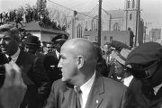 Police escorting Jacqueline Kennedy (hidden from view) down Auburn Avenue to Ebenezer Baptist...