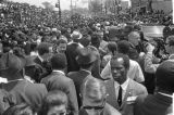 Crowd on Auburn Avenue outside Ebenezer Baptist Church at Martin Luther King, Jr.'s funeral.