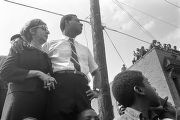 Couple at Martin Luther King, Jr.'s funeral procession on Auburn Avenue.