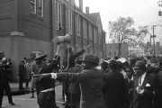 Crowd in the street outside Ebenezer Baptist Church at Martin Luther King, Jr.'s funeral.