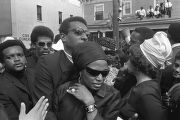 Stokely Carmichael with his wife Miriam Makeba and others moving through Martin Luther King, Jr.'s...
