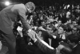 Robert F. Kennedy shaking the hands of students and faculty at the University of Alabama during...