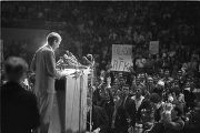 Robert F. Kennedy speaking to students and faculty at the University of Alabama during the student...
