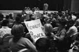 Audience members waiting for Robert F. Kennedy to arrive at the University of Alabama during the...