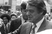Sargent Shriver walking through a crowd in downtown Atlanta, Georgia, during the Democratic...