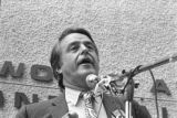 Sargent Shriver addressing an audience in front of the Georgia Life Building in downtown Atlanta,...