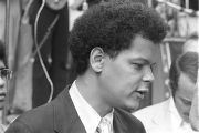 Julian Bond in downtown Atlanta, Georgia, during the Democratic National Committee's regional...