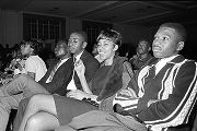 Young men and women in the audience during a performance of the Otis Redding Show at the...