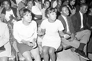 Young women and men in the audience during a performance of the Otis Redding Show at the...