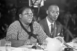 Fannie Lou Hamer speaking at a hearing of the Senate Subcommittee on Employment, Manpower, and...