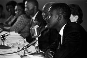 Man speaking at a hearing of the Senate Subcommittee on Employment, Manpower, and Poverty at the...